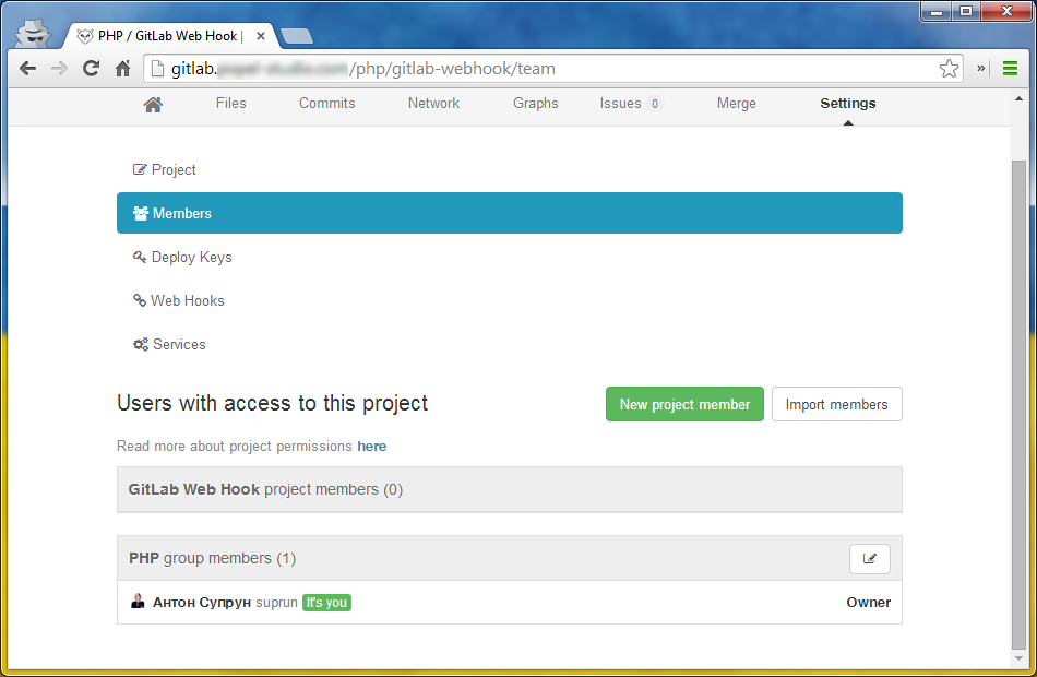 Страница прав доступа к проекту