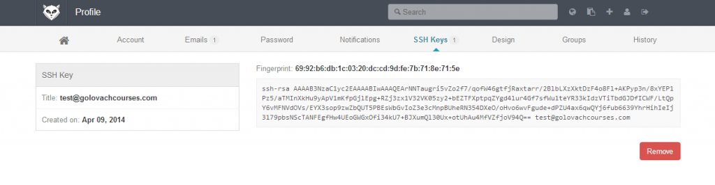 Gitlab ssh key profile