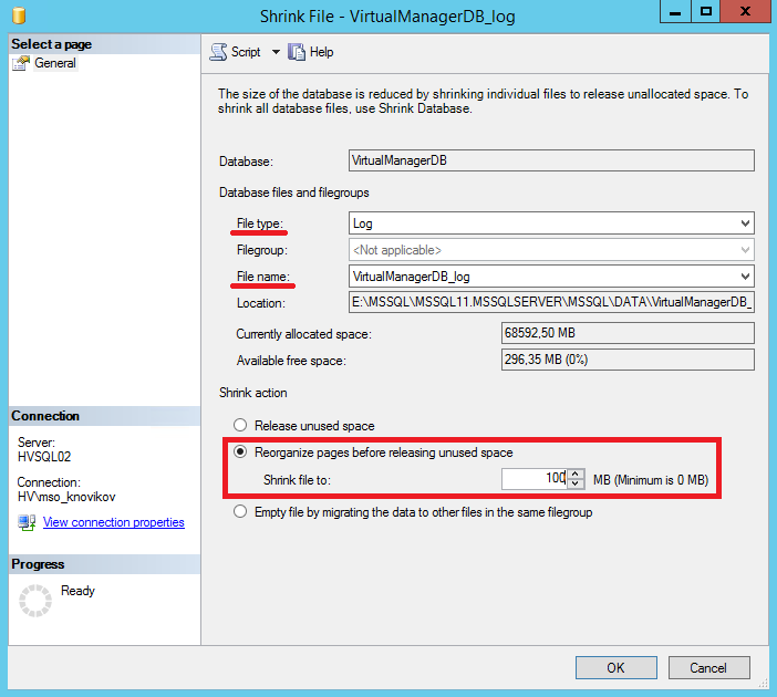 Обрезание базы данных MsSQL