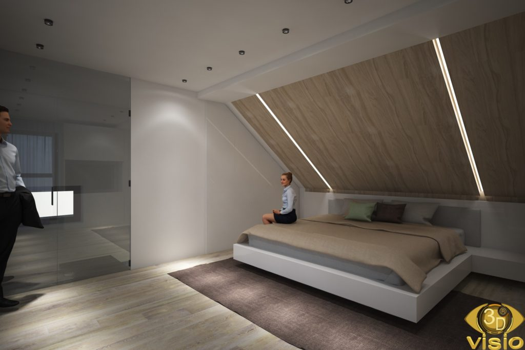 3D visualization of the last floor of a house in Austria