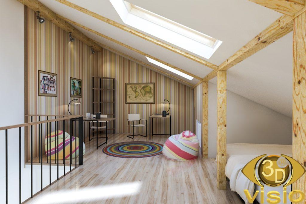 3D-визуализация последнего этажа в Таун-хаусе, Киев