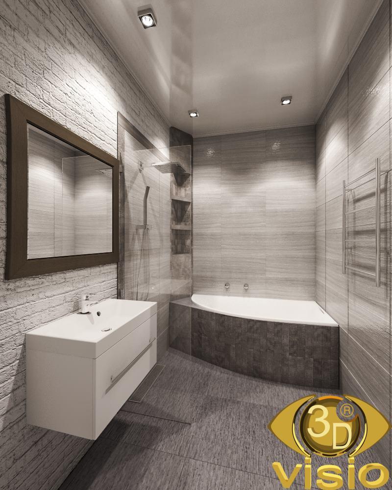 Візуалізація ванної кімнати в таунхаусі, Київ