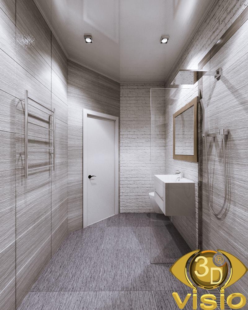 3D bathroom visualization in a townhouse, Kiev